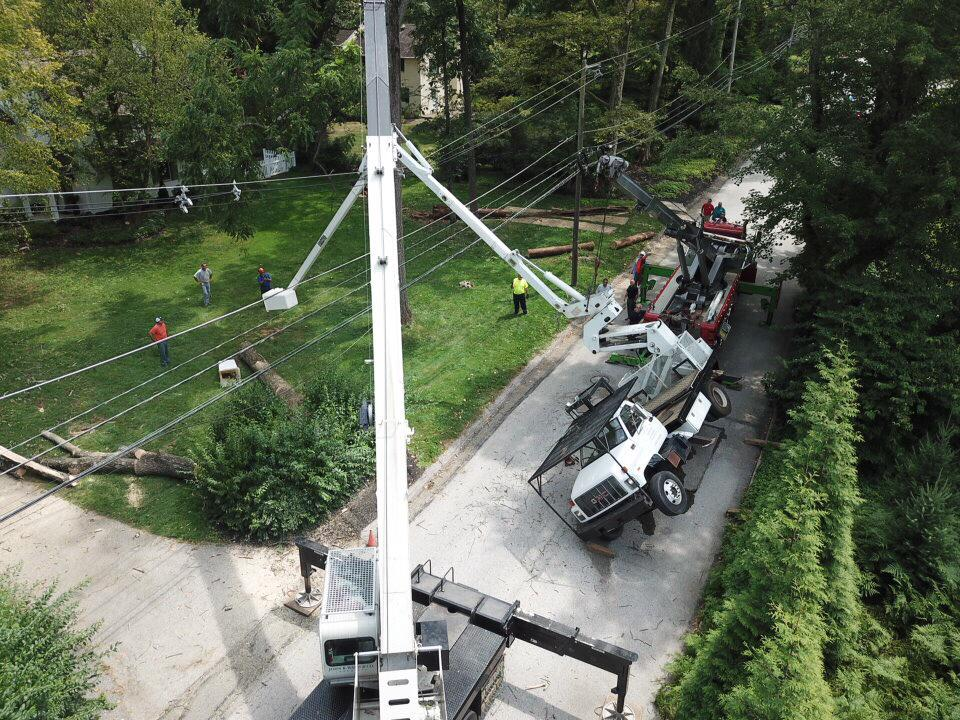 bucket truck tipped over